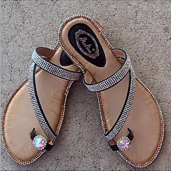 c987f3a0a Itali Blk Toe ring rainbow rhinestone thong sandal